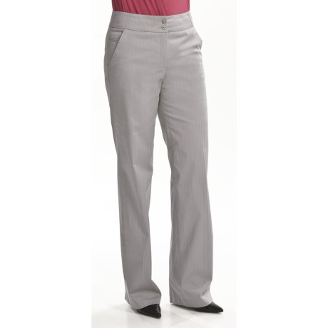 Tribal Sportswear Tonal Stripe Pants - Stretch Cotton (For Women) in Light Grey