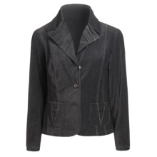 Tribal Sportswear Velvety Cotton Jacket - Pleat Detail (For Women) in Heather Charcoal