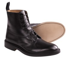 Tricker's Burford Derby Boots - Smooth Leather (For Men) in Black Calf - Closeouts