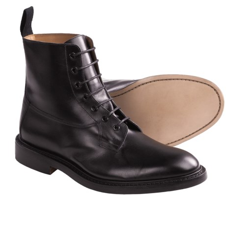 Tricker's Burford Derby Boots - Smooth Leather (For Men) in Black Calf