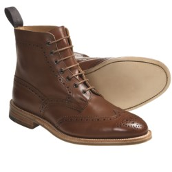 Tricker's Langston Wingtip Boots - Leather (For Men) in Marron Antique