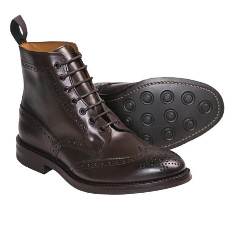 Tricker's Langston Wingtip Boots - Leather (For Men) in Marron Antique