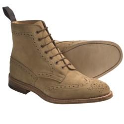Tricker's Langston Wingtip Boots - Suede (For Men) in Gaucho Repellow Suede