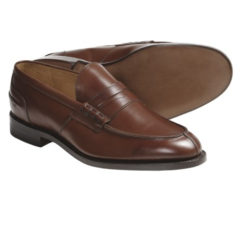 Tricker's Poe Penny Loafer Shoes - Algonquian Split Toe, Leather (For Men) in Beechnut
