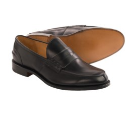 Tricker's Poe Penny Loafer Shoes - Algonquian Split Toe, Leather (For Men) in Black