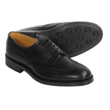 Tricker's Handmade Wingtip Derby Shoes - Brogue Welted  (For Men) in Black Calf - Closeouts