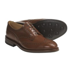 Tricker's Handmade Wingtip Derby Shoes - Brogue Welted  (For Men) in Black Calf