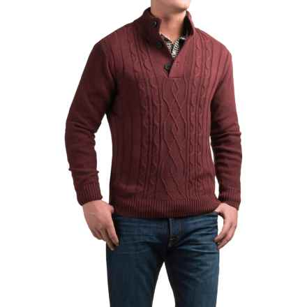 Tricots St. Raphael Aran Sweater (For Men) in Ruby Heather - Closeouts