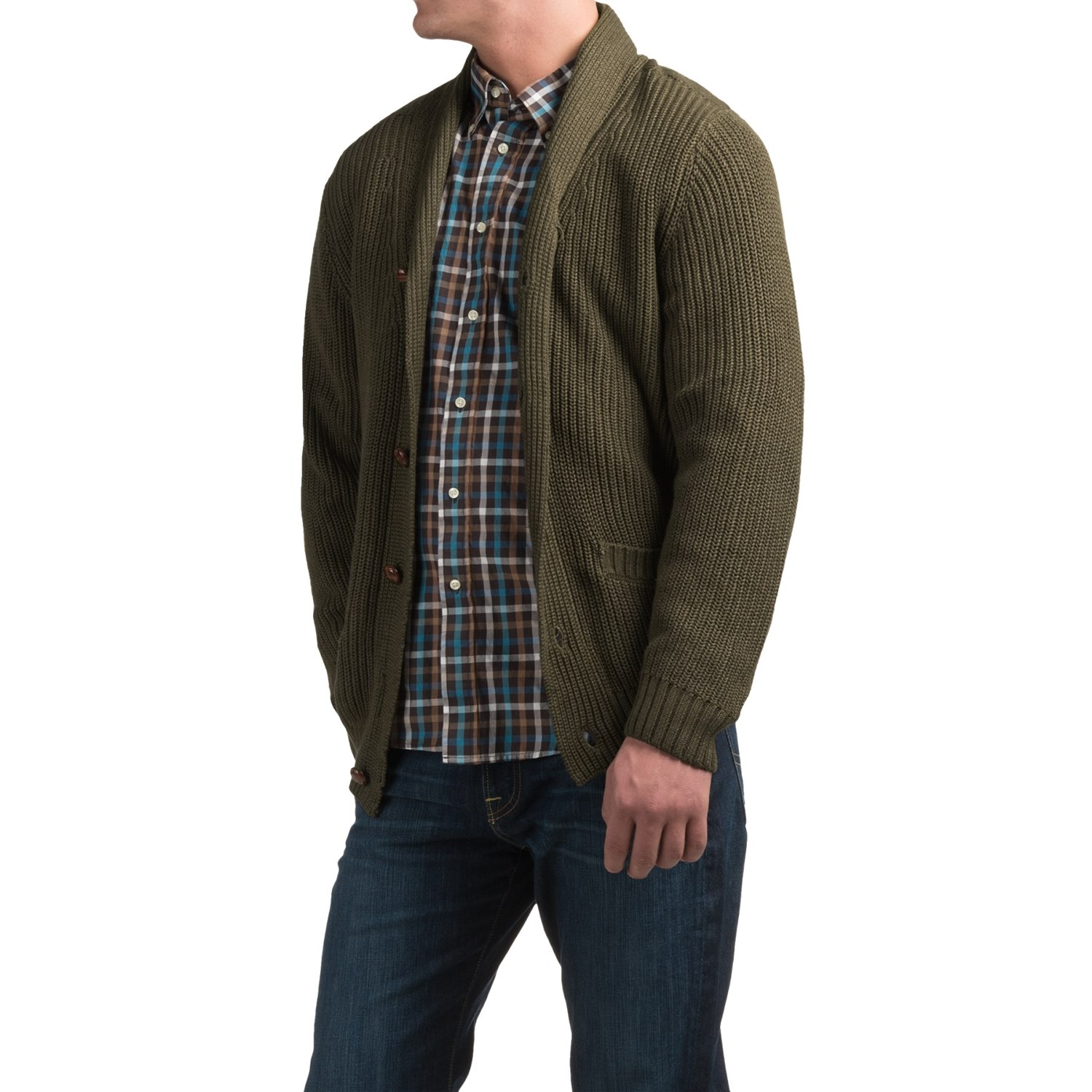 Tricots St. Raphael Shawl,Collar Cardigan Sweater (For Men) in Parsley Heather