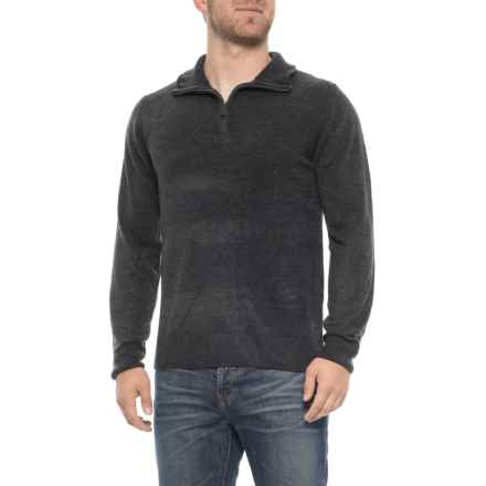 Tricots St. Raphael Textured Front Sweater - Zip Neck (For Men) in Charcoal - Overstock