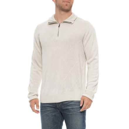 Tricots St. Raphael Textured Front Sweater - Zip Neck (For Men) in Ivory - Overstock