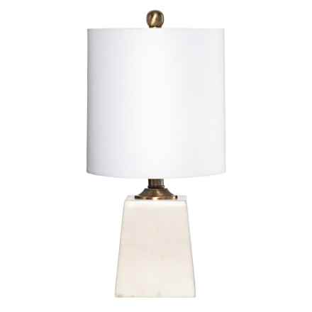"Trident Metal Table Lamp with Tapered Square Marble Base - 18"" in White/Gold - Closeouts"