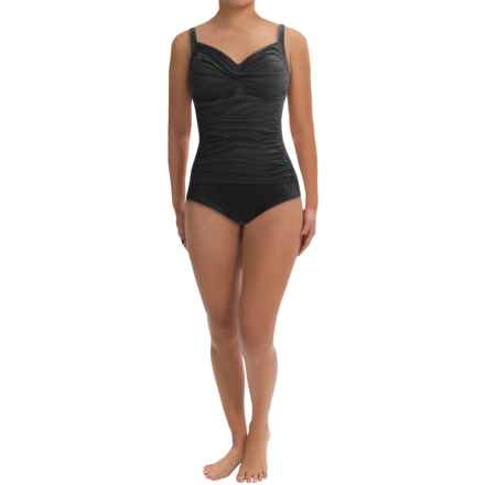 Trimshaper Avery One-Piece Swimsuit (For Plus Size Women) in Black - Closeouts