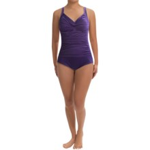 Trimshaper Avery One-Piece Swimsuit (For Plus Size Women) in Eggplant - Closeouts