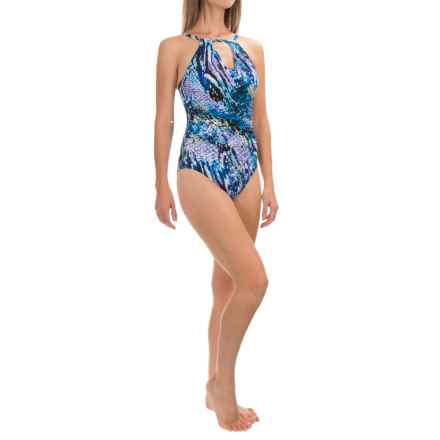 Trimshaper Sara Rattled Up One-Piece Swimsuit (For Women) in Purple - Closeouts