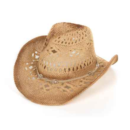 Tropical Trends Toyo Straw Western Hat - Beaded Crown Band (For Women) in Tea - Closeouts