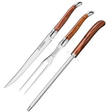 Trudeau Laguiole Carving Knife Set - 3-Piece in Rosewood - Closeouts