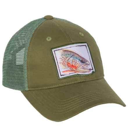 True Flies Brown Trout Trucker Hat (For Men) in Turtle Grass - Closeouts