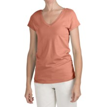 True Grit 40 Cotton Jersey T-Shirt - V-Neck, Short Sleeve (For Women) in Tangerine - Closeouts