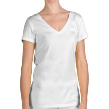 True Grit 40 Cotton Jersey T-Shirt - V-Neck, Short Sleeve (For Women) in White - Closeouts