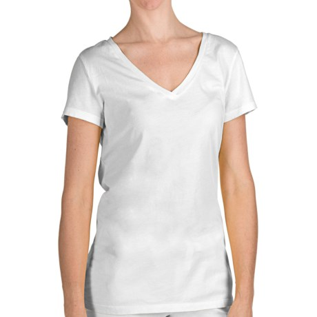 True Grit 40 Cotton Jersey T-Shirt - V-Neck, Short Sleeve (For Women) in White