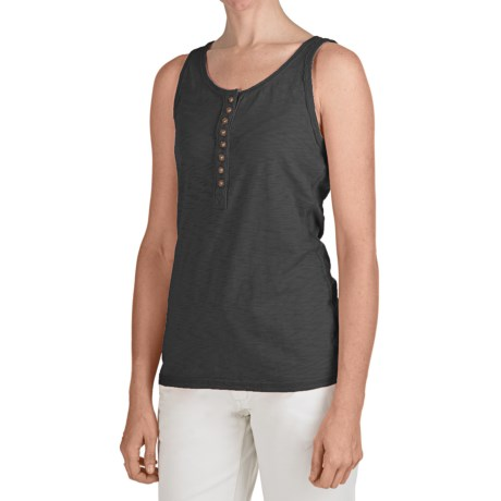 True Grit Baja Trim Tank Top - Cotton Slub (For Women) in Black W/Vintage Button