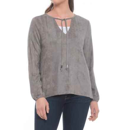 True Grit Bandit Faux-Suede Hi-Lo Tie Blouse - Long Sleeve (For Women) in Vintage Grey - Closeouts