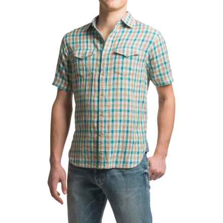 True Grit Beach Check Shirt - Short Sleeve (For Men) in Aqua/Grey - Closeouts