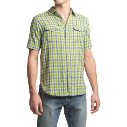 True Grit Beach Check Shirt - Short Sleeve (For Men) in Blue/Green - Closeouts