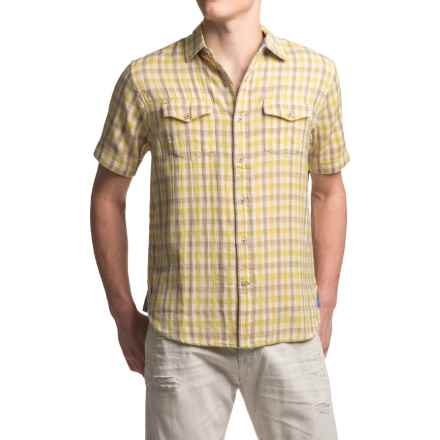 True Grit Beach Check Shirt - Short Sleeve (For Men) in Grey/Yellow - Closeouts