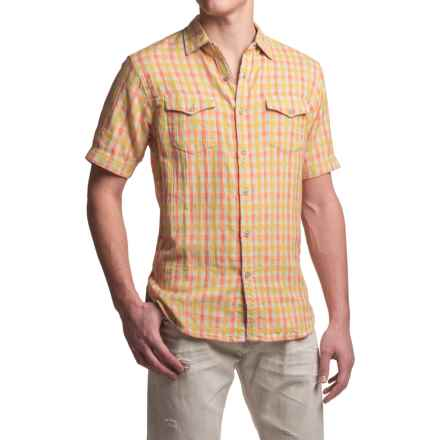 True Grit Beach Check Shirt - Short Sleeve (For Men) in Orange/Yellow - Closeouts