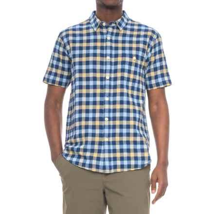 True Grit Beach Checks Shirt - Short Sleeve (For Men) in Indigo/Sun - Closeouts
