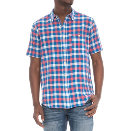 True Grit Beach Checks Shirt - Short Sleeve (For Men) in Red/Blue