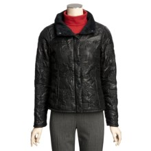 True Grit Bonded Quilted Short Jacket - Faux-Fur Collar (For Women) in Black Flower Stitch - Closeouts