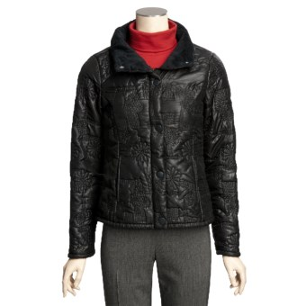 True Grit Bonded Quilted Short Jacket - Faux-Fur Collar (For Women) in Black Flower Stitch