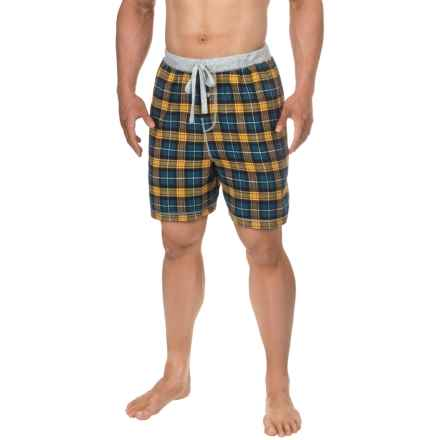 True Grit Bowery Flannel Lounge Shorts (For Men) in Blue - Closeouts