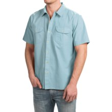 True Grit Brushed Cotton Solid Shirt - Short Sleeve (For Men) in Soft Blue - Closeouts