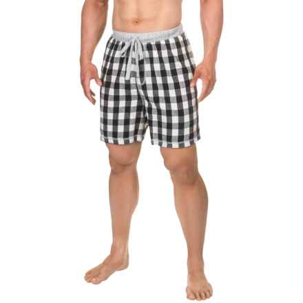 True Grit Buffalo Check Flannel Lounge Shorts (For Men) in White - Closeouts