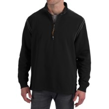 True Grit Cashmere Fleece Sweater - Cotton Blend, Zip Neck (For Men) in Black - Closeouts