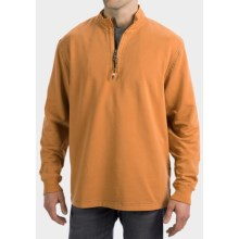 True Grit Cashmere Fleece Sweater - Cotton Blend, Zip Neck (For Men) in Burnt Orange - Closeouts