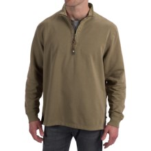 True Grit Cashmere Fleece Sweater - Cotton Blend, Zip Neck (For Men) in Moss - Closeouts