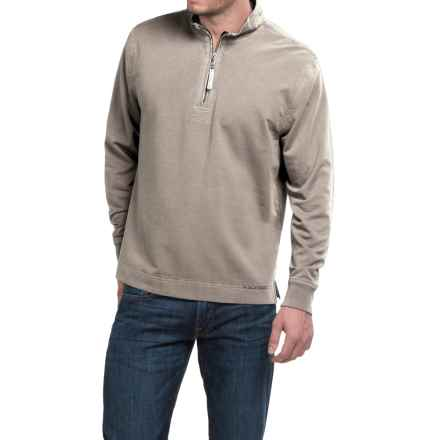 True Grit Cashmere Fleece Sweater - Cotton Blend, Zip Neck (For Men) in Pebble - Closeouts
