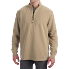 True Grit Cashmere Fleece Sweater - Cotton Blend, Zip Neck (For Men) in Wheat - Closeouts