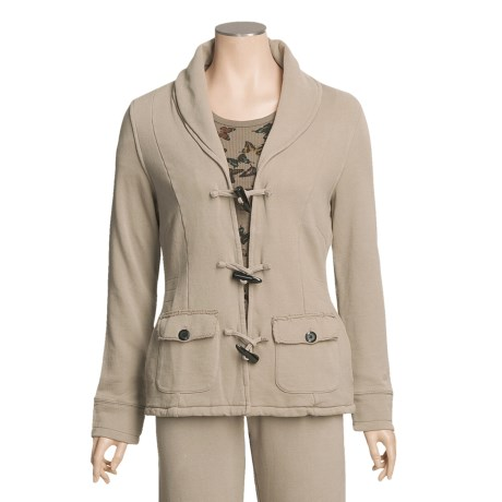 True Grit Cashmere Fleece Toggle Jacket - Butterfly Thermal Knit Lining (For Women) in Jungle