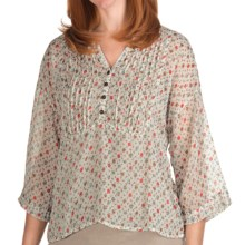True Grit Chiffon Crop Pintuck Shirt - 3/4 Sleeve (For Women) in White Floral - Closeouts