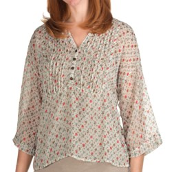 True Grit Chiffon Crop Pintuck Shirt - 3/4 Sleeve (For Women) in White Floral