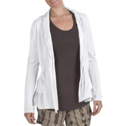 True Grit Cody Cotton Ruffle Open Jacket - Shawl Collar (For Women) in White
