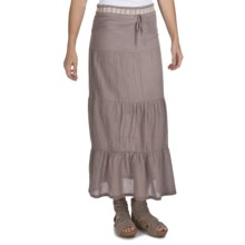True Grit Cody Tiered Long Ruffle Skirt - Cotton (For Women) in Beach Grey - Closeouts