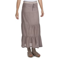 True Grit Cody Tiered Long Ruffle Skirt - Cotton (For Women) in White