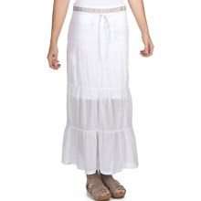 True Grit Cody Tiered Long Ruffle Skirt - Cotton (For Women) in White - Closeouts